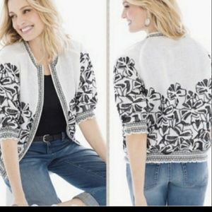 Chicos linen embroidered jacket